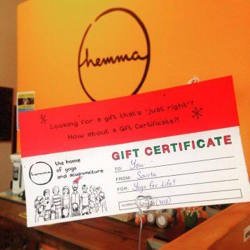 gift certificte holiday hemma